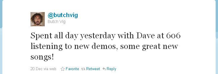 Butch Vig ouviu novas demos do Foo Fighters