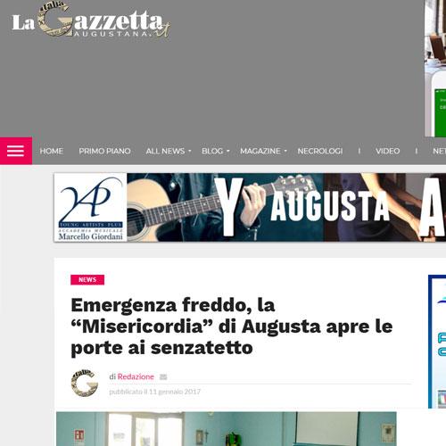 Articolo news Emergenza freddo la Misericordia di Augusta apre le porte ai senzatetto