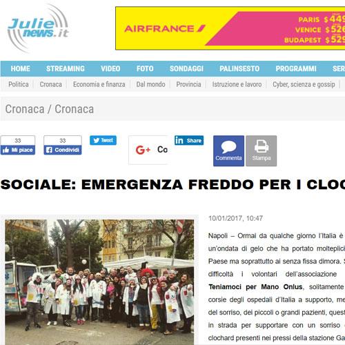 Articolo sociale emergenza freddo per i clochard