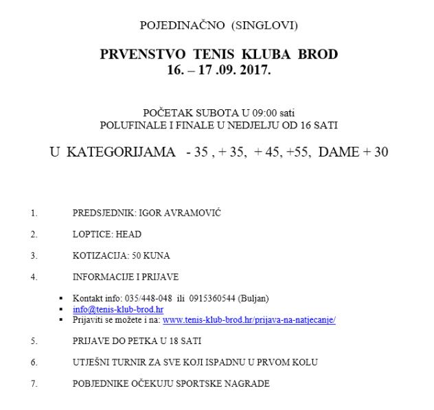Prvenstvo TK Brod 2017