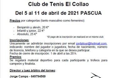 Jordytour Club de Tenis El Collao del 5 al 11 de Abril de 2021.