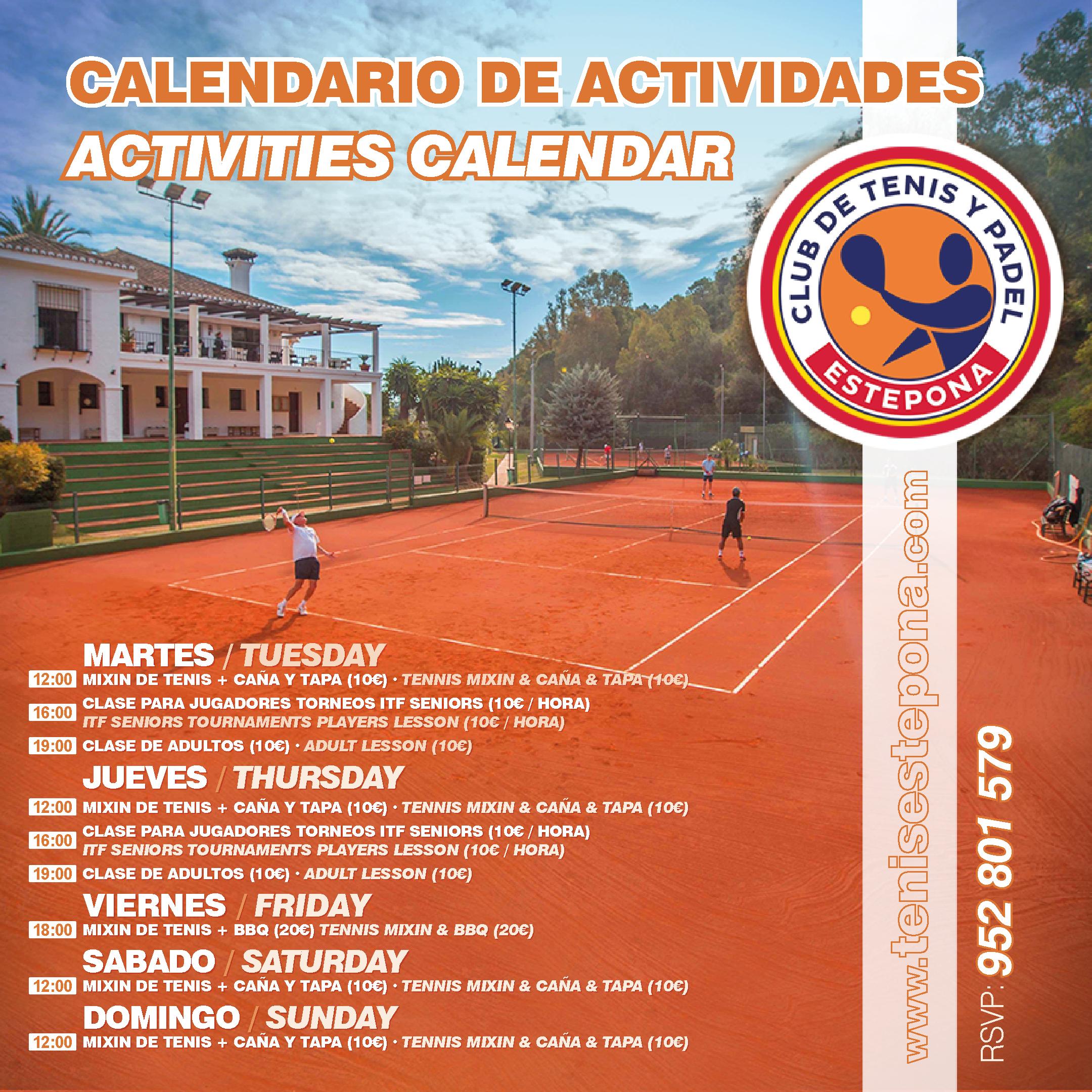 Calendario de Actividades de Tenis