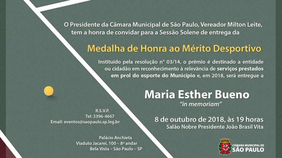 HOMENAGEM DA CÂMARA MUNICIPAL DE SÃO PAULO PARA MARIA ESTHER BUENO