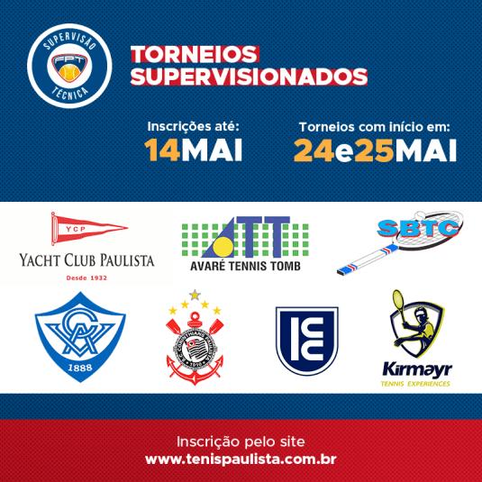 TORNEIOS SUPERVISIONADOS – INSCRIÇÕES ATÉ 14.05