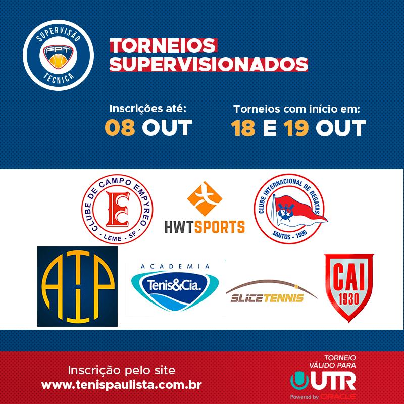 TORNEIOS SUPERVISIONADOS – INSCRIÇÕES ATÉ 08.10