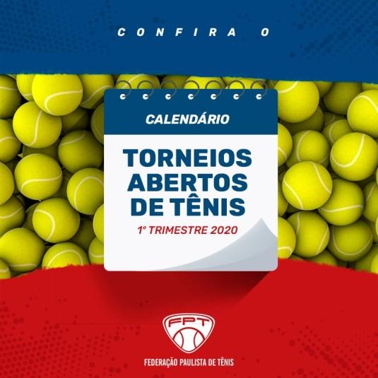 CALENDÁRIO 2020 (1º TRIMESTRE) – TORNEIOS ABERTOS DE TÊNIS