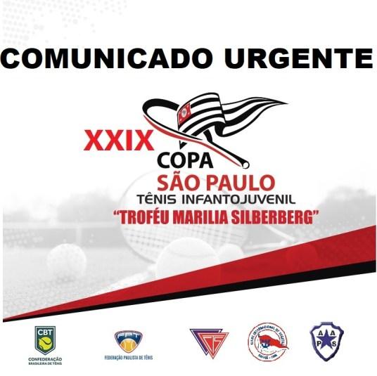 COPA SÃO PAULO DE TÊNIS – ADIAMENTO DE DATA