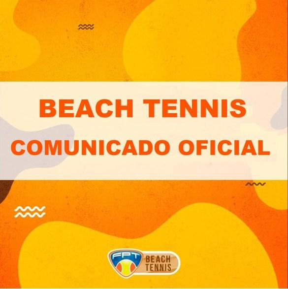 COMUNICADO OFICIAL – DEPTO DE BEACH TENNIS – FPT – BT
