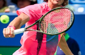 Stefanos Tsitsipas of Greece in action against David Goffin of Belgium in their match in the Western & Southern Open tennis tournament at the Lindner Family Tennis Center in Mason, Ohio, USA, 14 August 2018. EPA-EFE/PHILLIP WRIGHT