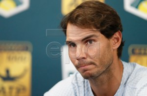 Rafael Nadal of Spain holds a press conference to announce his withdrawal from the tournament at the Rolex Paris Masters tennis tournament in Paris, France, 31 0ctober 2018. EPA-EFE/IAN LANGSDON