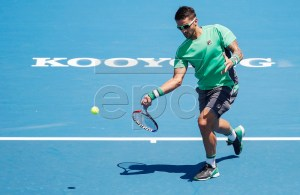 Janko Tipsarevic of Serbia in action against Jason Kubler of Australia during match two of the Kooyong Classic at Kooyong Lawn Tennis Club in Melbourne, Australia, 08 January 2019. EPA-EFE/DANIEL POCKETT AUSTRALIA AND NEW ZEALAND OUT
