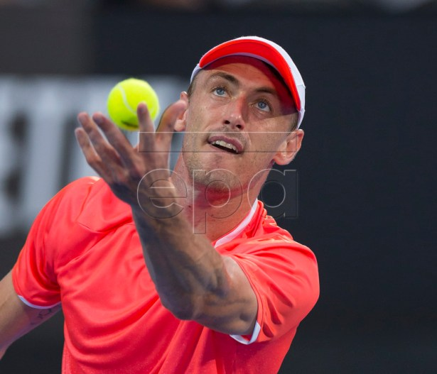 John Millman of Australia in action against Marton Fucsovics of Hungary during their match at the Sydney International tennis tournament at Sydney Olympic Park Tennis Centre in Sydney, Australia, 09 January 2019. EPA-EFE/CRAIG GOLDING AUSTRALIA AND NEW ZEALAND OUT