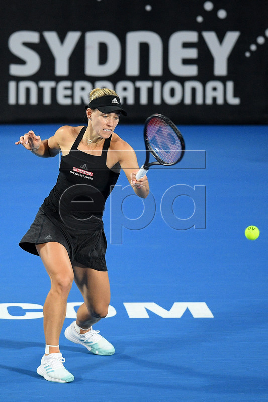 Angelique Kerber of Germany in action against Petra Kvitova of the Czech Republic during their quarter final match at the Sydney International tennis tournament at Sydney Olympic Park Tennis Centre in Sydney, New South Wales, Australia, 10 January 2019.  EPA-EFE/DAN HIMBRECHTS AUSTRALIA AND NEW ZEALAND OUT  EDITORIAL USE ONLY