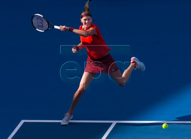 Petra Kvitova of the Czech Republic in action against Ashleigh Barty of Australia during the Sydney International tennis tournament at Sydney Olympic Park Tennis Centre in Sydney, Australia, 12 January 2019. EPA-EFE/CRAIG GOLDING AUSTRALIA AND NEW ZEALAND OUT