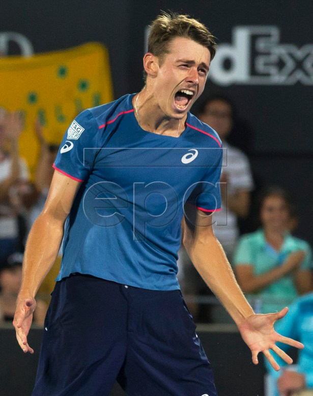 Alex de Minaur of Australia celebrates after defeating Andreas Seppi of Italy in their men's singles final at the Sydney International tennis tournament at Sydney Olympic Park Tennis Centre in Sydney, Australia, 12 January 2019.  EPA-EFE/CRAIG GOLDING AUSTRALIA AND NEW ZEALAND OUT