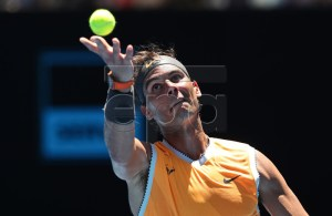 Rafael Nadal of Spain in action against James Duckworth of Australia during day one of the Australian Open tennis tournament in Melbourne, Australia, 14 January 2019. EPA-EFE/DAVID CROSLING EDITORIAL USE ONLY AUSTRALIA AND NEW ZEALAND OUT