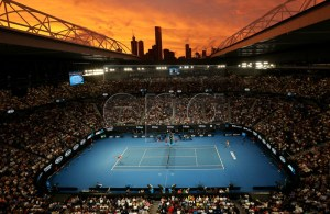 Sunset over Rod Laver Arena during the men's singles third round match between Alex de Minaur of Australia and Rafael Nadal of Spain at the Australian Open Grand Slam tennis tournament in Melbourne, Australia, 18 January 2019. EPA-EFE/HAMISH BLAIR AUSTRALIA AND NEW ZEALAND OUT