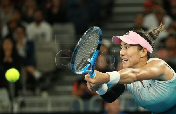 Garbine Muguruza of Spain in action against Timea Bacsinszky of Switzerland at the Australian Open Grand Slam tennis tournament in Melbourne, Australia, 19 January 2019. EPA-EFE/HAMISH BLAIR AUSTRALIA AND NEW ZEALAND OUT