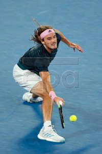 Stefanos Tsitsipas of Greece in action during his men's singles semifinal match against Rafael Nadal of Spain at the Australian Open Grand Slam tennis tournament in Melbourne, Australia, 24 January 2019.  EPA-EFE/RITCHIE TONGO