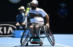 David Wagner of the United States in action against Dylan Alcott of Australia during the quad wheelchair singles final on day 13 of the Australian Open Grand Slam tennis tournament in Melbourne, Australia, 26 January 2019. EPA-EFE/LUKAS COCH EDITORIAL USE ONLY AUSTRALIA AND NEW ZEALAND OUT