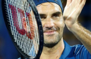 Roger Federer of Switzerland celebrates after defeating Fernando Verdasco of Spain in their second round match at the Dubai Duty Free Tennis ATP Championships 2019 in Dubai, United Arab Emirates, 27 February 2019. EPA-EFE/ALI HAIDER