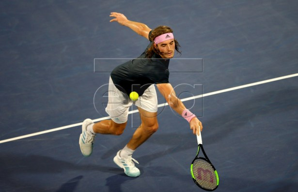Stefanos Tsitsipas of Greece in action during his semi final match against Gael Monfils of France at Dubai Duty Free Tennis ATP Championships 2019 in Dubai, United Arab Emirates, 01 March 2019.  EPA-EFE/ALI HAIDER