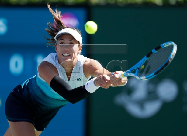 Garbine Muguruza of Spain in action against Bianca Andreescu of Canada during the BNP Paribas Open tennis tournament at the Indian Wells Tennis Garden in Indian Wells, California, USA, 13 March 2019. The men's and women's final will be played, 17 March 2019.  EPA-EFE/JOHN G. MABANGLO