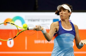 Johanna Konta of Great Britain in action against Jessica Pegula of the USA during their women's singles match at the Miami Open tennis tournament in Miami, Florida, USA, 21 March 2019. EPA-EFE/JASON SZENES