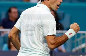 Roger Federer of Switzerland reacts as he plays against Radu Albot of Moldova during their match at the Miami Open tennis tournament in Miami, Florida, USA, 23 March 2019. EPA-EFE/RHONA WISE