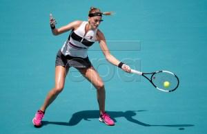 Petra Kvitova of Czech Republic in action against Caroline Garcia of the France during their women's singles match at the Miami Open tennis tournament in Miami, Florida, USA, 25 March 2019. EPA-EFE/JASON SZENES