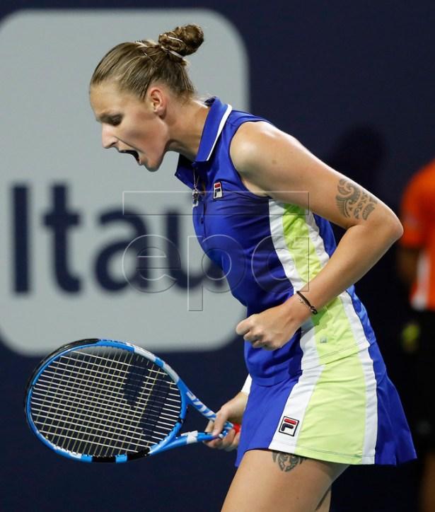 Karolina Pliskova of the Czech Republic reacts against Marketa Vondrousova of the Czech Republic during their women's singles match at the Miami Open tennis tournament in Miami, Florida, USA, 27 March 2019. EPA-EFE/RHONA WISE