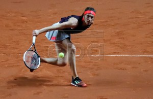 Andrea Petkovic of Germany in action during her first round match against Sara Sorribes Tormo of Spain at the Porsche Tennis Grand Prix tournament in Stuttgart, Germany, 23 April 2019. EPA-EFE/RONALD WITTEK