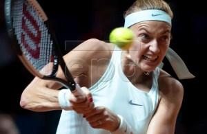 Petra Kvitova of Czech Republic in action during her semi final match against Kiki Bertens of the Netherlands at the Porsche Tennis Grand Prix tournament in Stuttgart, Germany, 27 April 2019. EPA-EFE/RONALD WITTEK