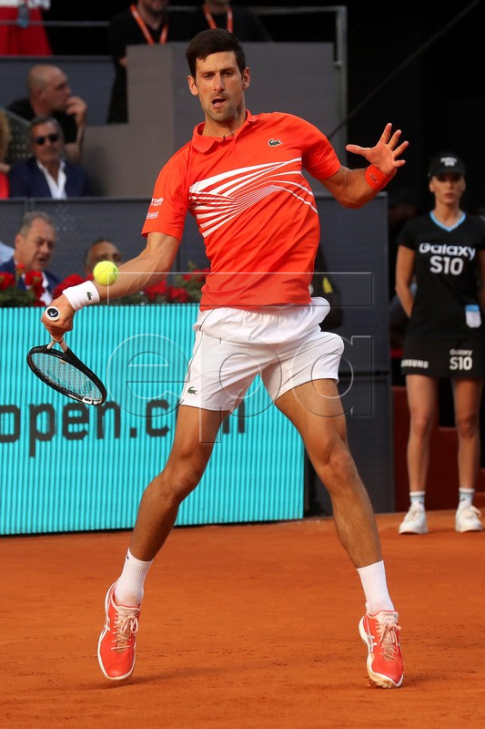 Novak Djokovic of Serbia in action during the final match against Stefanos Tsitsipas of Greece at the Mutua Madrid Open tennis tournament, in Madrid, Spain, 12 May 2019.  EPA-EFE/KIKO HUESCA