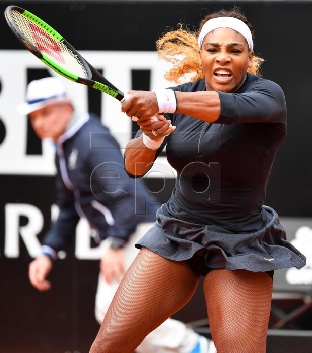 Serena Williams of the USA in action against Rebecca Peterson of Sweden during their women's singles first round match at the Italian Open tennis tournament in Rome, Italy, 13 May 2019.  EPA-EFE/ETTORE FERRARI