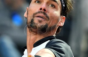 Fabio Fognini of Italy in action during his men's singles first round match against Jo-Wilfried Tsonga of France at the Italian Open tennis tournament in Rome, Italy, 13 May 2019. EPA-EFE/ETTORE FERRARI