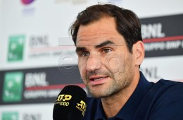 Switzerland's Roger Federer speaks during a press conference at the Italian Open tennis tournament in Rome, Italy, 14 May 2019.  EPA-EFE/ETTORE FERRARI