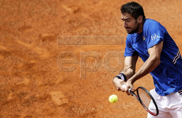 Marin Cilic of Croatia in action against Andrea Basso of Italy during their men's singles first round match at the Italian Open tennis tournament in Rome, Italy, 14 May 2019.  EPA-EFE/RICCARDO ANTIMIANI