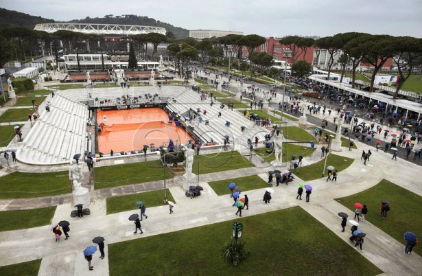 General view of the Pietrangeli court as all matches are suspended due to rain at the Italian Open tennis tournament in Rome, Italy, 15 May 2019.  EPA-EFE/RICCARDO ANTIMIANI