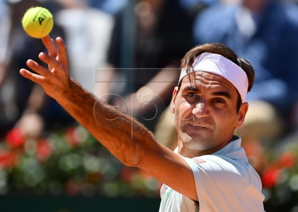 Roger Federer of Switzerland in action during his men's singles match against Joao Sousa of Portugal at the Italian Open tennis tournament in Rome, Italy, 16 May 2019. EPA-EFE/ETTORE FERRARI