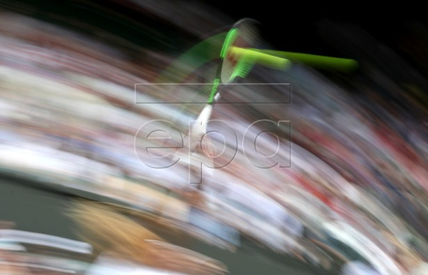 Serena Williams of the USA in action against Alison Riske of the USA during their quarter final match for the Wimbledon Championships at the All England Lawn Tennis Club, in London, Britain, 09 July 2019. EPA-EFE/NIC BOTHMA EDITORIAL USE ONLY/NO COMMERCIAL SALES