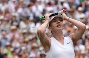Simona Halep of Romania celebrates winning against Elina Svitolina of Ukraine during their semi final match for the Wimbledon Championships at the All England Lawn Tennis Club, in London, Britain, 11 July 2019. EPA-EFE/WILL OLIVER EDITORIAL USE ONLY/NO COMMERCIAL SALES