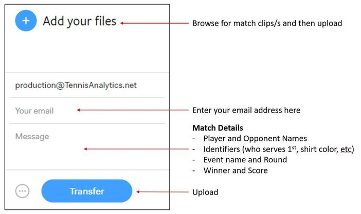 how to upload a tennis match on wetransfer