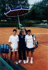 Torneo giovanile Under 16 a Torino nel 2001: Novak Djokovic, il coach Bata e Milan Mihailovic