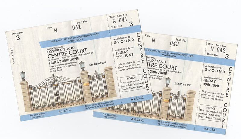 Centre court tickets for the first Friday in June, 1989 - price just £18.