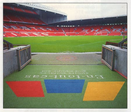 The players' tunnel at Old Trafford for the 1996 UEFA Championhips.