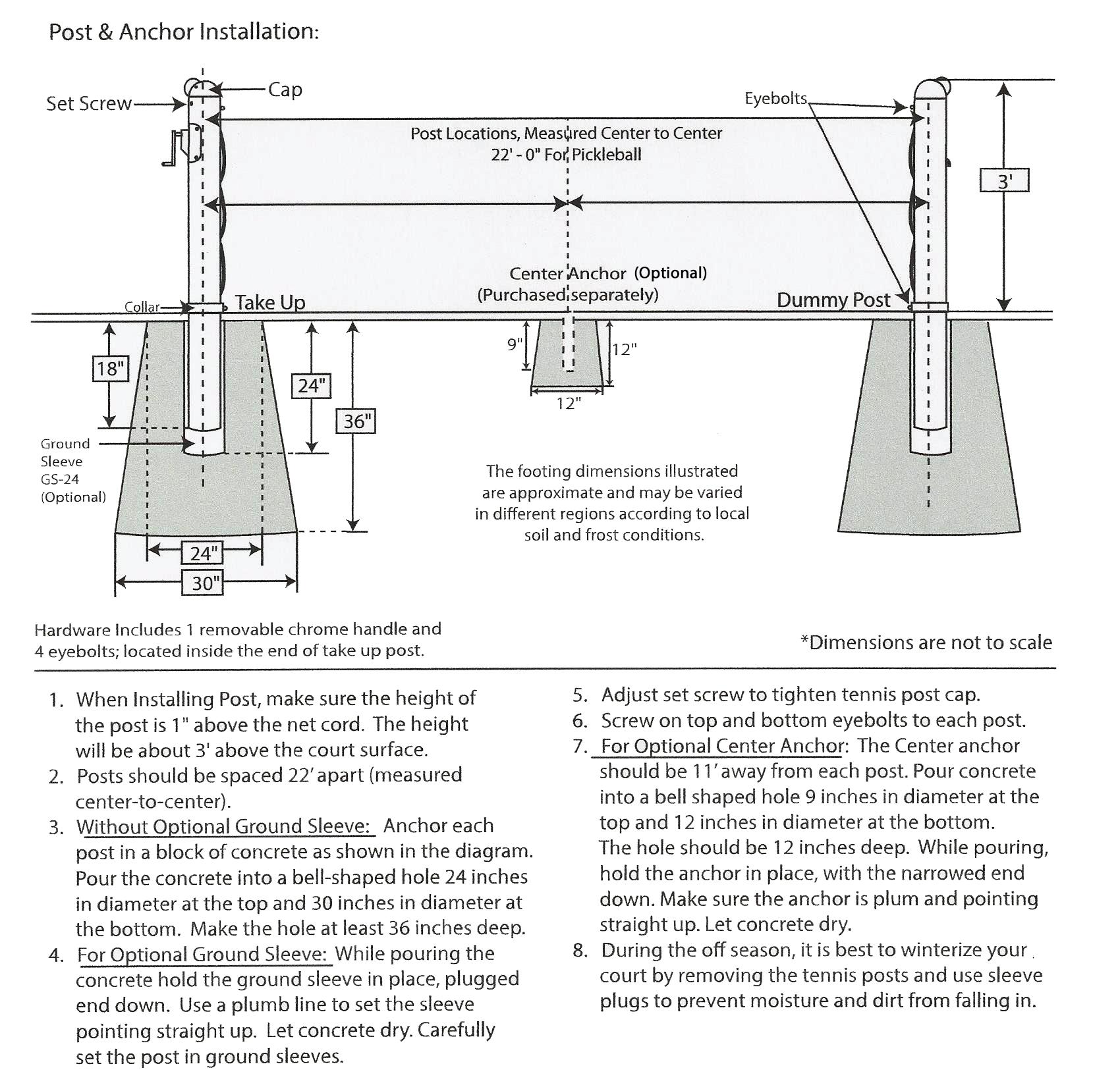 measurement of tennis court with diagram 2001 ford f150 front suspension douglas 3 quot premier round pickleball posts