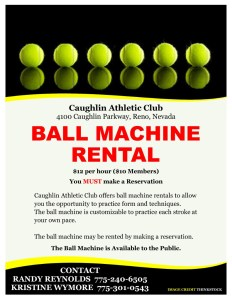 Tennis Ball Machine Rental Reno Nevada