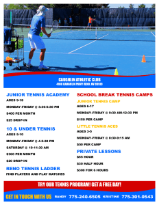 Junior Tennis Academy in Reno, NV at Caughlin Club