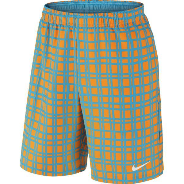 Nike Mens Court Plaid 9 Tennis Shorts - Orange Blue